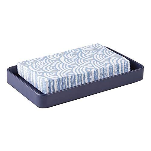 mDesign Modern Decorative Metal Guest Hand Towel Storage Tray Dispenser, Sturdy Holder for Disposable Paper Napkins - Bathroom Vanity Countertop Organization - Matte Navy Blue - Guest Napkins Blue