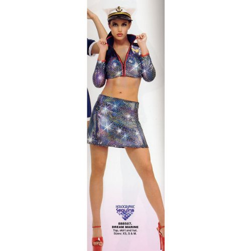 Secret Wishes Women's Dream Marine Adult Costume with Holographic Sequins, Multicolor, X-Small (Sequin Sailor Costume Hat)