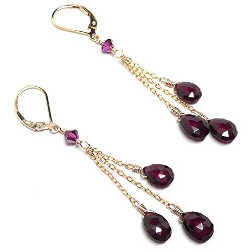 Three Garnet Briolettes Chain Dangle Earrings Gold-Filled Handcrafted Garnet Love Earrings