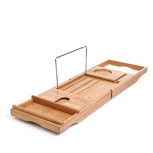 SMAGREHO 100% Natural Bamboo Bathtub Caddy Bath Tub Tray with Extending Sides Include All Function