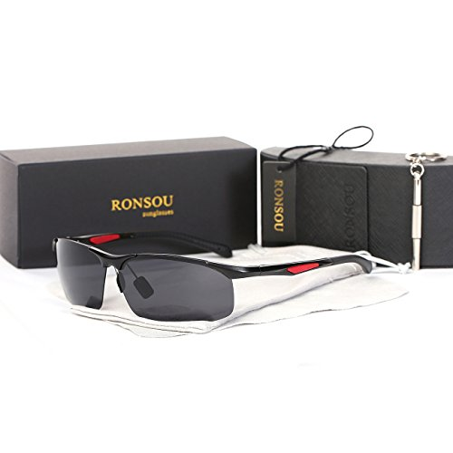 Ronsou Men's Sport Aluminium-Magnesium Polarized Sunglasses For Driving Cycling Fishing Golf Glasses black frame/gray - Target Case Sunglasses