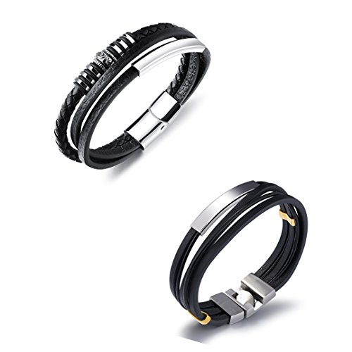 Set of 2 Braided Rope and Belt Bracelets Magnetic-clasp Bangle Cuff Wrap