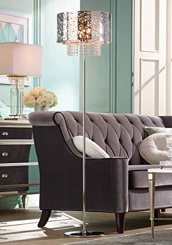 (Modern Chandelier Floor Lamp Chrome Nest Metal Crystal Cascade Step Dimmer for Living Room Reading Bedroom - Possini Euro Design)