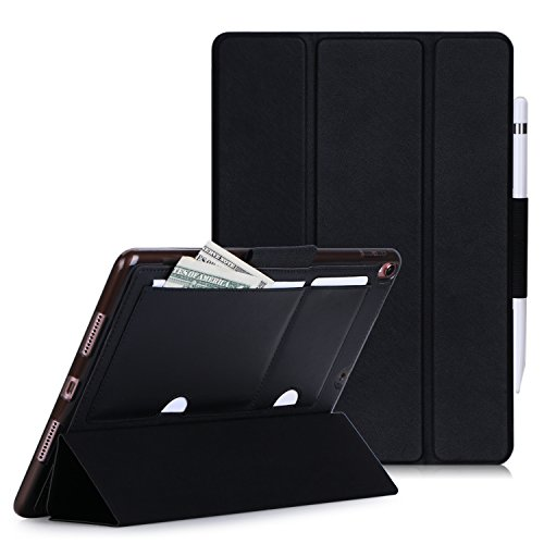 FYY Case for iPad Pro 10.5, Smart Case Trifold Stand with Auto Sleep Wake Function, Long Apple Pencil Holder, Memo Slots for iPad Pro 10.5 (2017 Released) Black