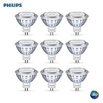 Philips 534255 Led 50W MR16 Bright White Glass(3000K) - 9 Bulbs
