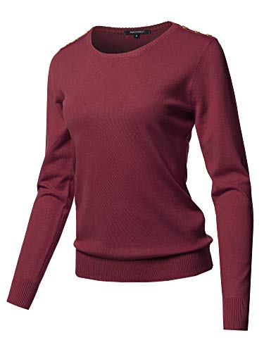Solid Button Detailed Round Neck Viscose Knit Sweater Top Burgundy L