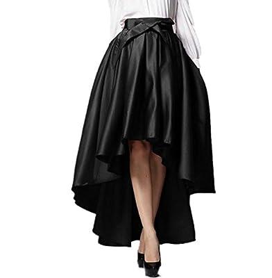 Irisdress Women's Burgundy/Black Bowknot High Waist Hi-lo Party Skater Skirt
