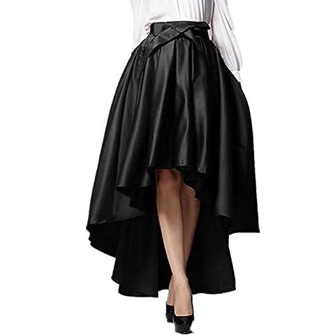 Irisdress Women's Burgundy Bowknot High Waist Hi-lo Party Skater Skirt Black 3X-Large