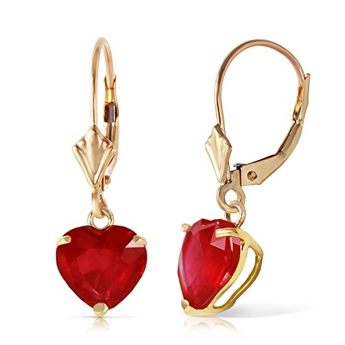 Galaxy Gold 14k Solid Gold Leverback Earrings with 2.9 Carat Heart-Shaped Natural Ruby
