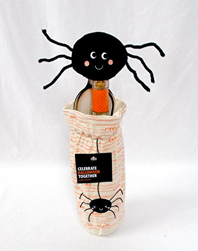 Kohl's Celebrate Halloween Black Spider Canvas Wine Bottle Cover 9.5' Decoration Gift (2 Piece)]()