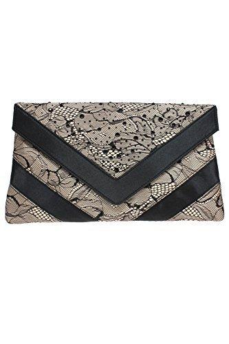 Saphir Boutique flr438 Glaube niedriger Absatz Spitzenbesatz Strass Peeptoe Clutch Tasche ohne Bügel Ferse hautfarben (Tasche)