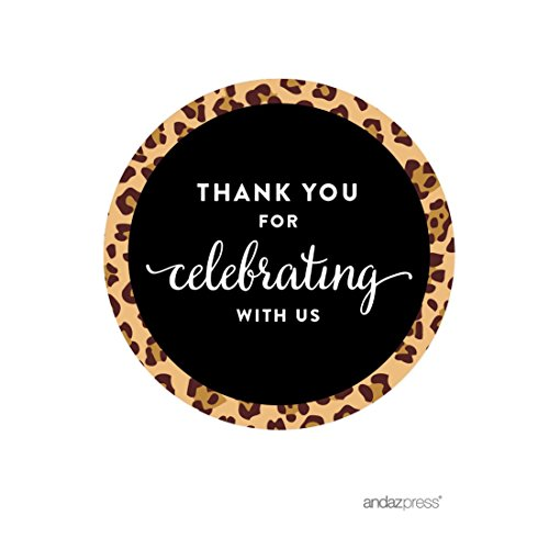 Andaz Press Birthday Round Circle Labels Stickers, Thank You for Celebrating with Us, Leopard Cheetah Print, 40-Pack, for Gifts and Party Favors