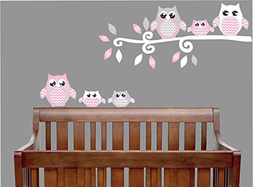Pink Owl Wall Decals / Owl Stickers / Owl Nursery Wall Decor (Grey and Pink Owl Wall Decals)