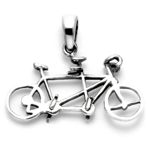 Tandem Bike Racing - Sterling Silver Tandem Bicycle Pendant