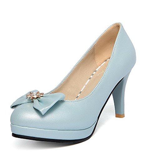 Trazione Weipoot Alti Su calzature Tacchi Blu Chiuso Donne Punta Solido Pompe Tutto OZaqagtxw