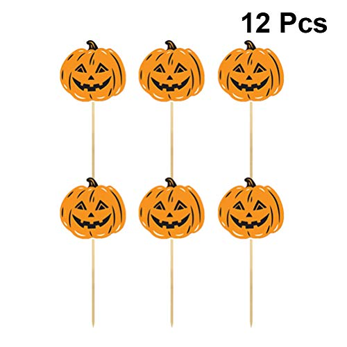 Amosfun Pumpkin Cake Toppers Halloween DIY Paper Cake Picks Birthday Party Cupcake Topper Picks Party Decorations Supplies for Halloween 12PCS]()