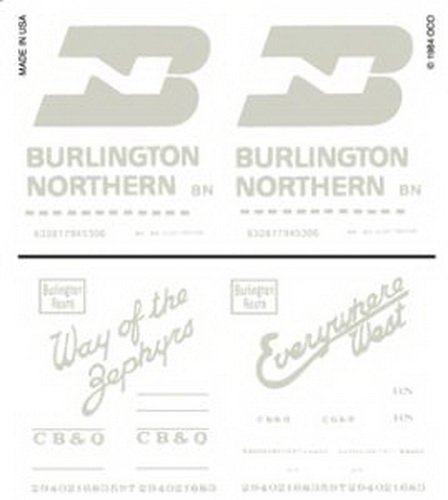 Woodland Scenics BN and CB & Q Box Cars Dry Transfer Decals
