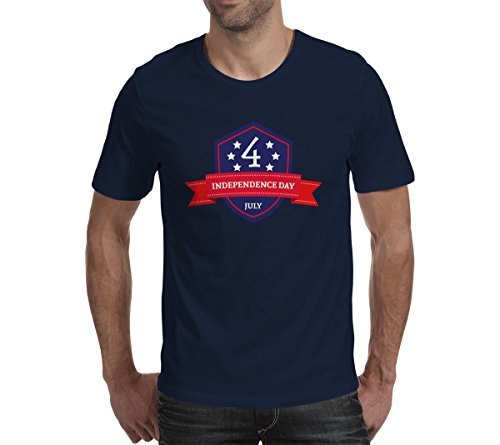 Sparrk Mens Cotton Independence Day July 4th Short T-shirt Navy Blue XL