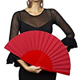 Ole Ole Flamenco Hand Fan Red Pericon 12 inches Spanish Handmade made of wooden and fabric ideal for Flamenco Dance Abanico Pericon