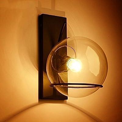 American Iron Art Glass Wall Lamp Lampe De Chevet Balcon Simple Personnalité Créatrice Et Le Passage De L'Air Industriel Loft Sur L'Escalier.