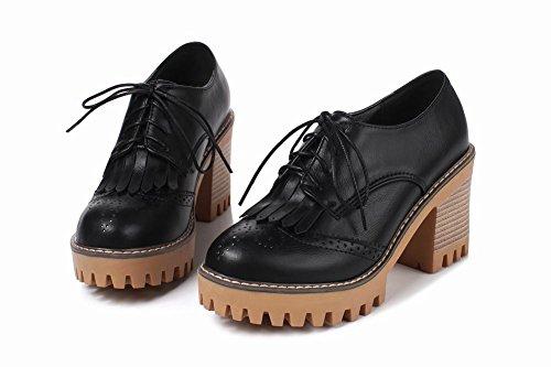 Mee Shoes Damen chunky heels Plateau runde Schnürhalbschuhe Schwarz
