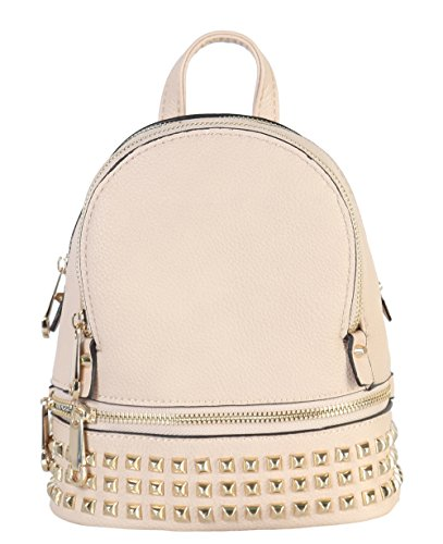 Rimen & Co. PU Leather Golden Studded & Zipper Décor Mini Chic Backpack BB-3851 (Apl Pack)
