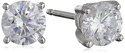 Platinum Plated Sterling Silver Round Cut 5mm Cubic Zirconia Stud Earrings (1 cttw)