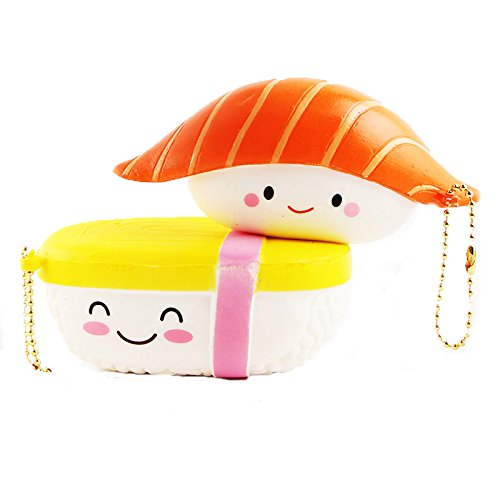 Kfnire Sushi squishy lenta aumento kawaii telefono cellulare fascino accessori catena chiave a catena (2pz(salmone+tamagoyaki))