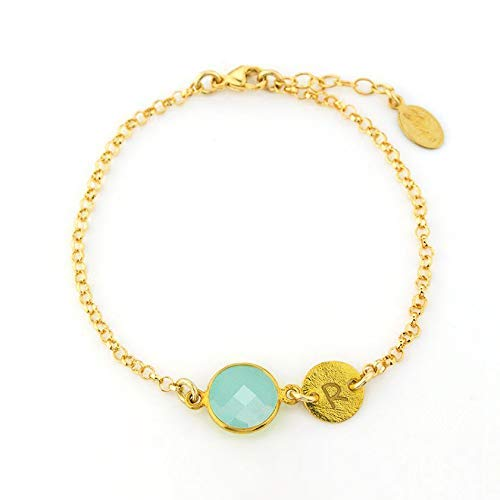3cf0a3ff4dc69 Amazon.com: March Birthstone Bracelet, Custom bracelet, Aqua ...