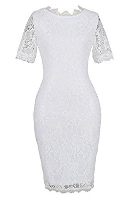 HELYO Women's Retro Full Floral Lace Slim Short Sleeve Cocktail Party Bodycon Pencil Dress 174
