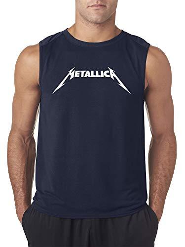 - New Way 925 - Men's Sleeveless Metallica Metal Rock Band Logo Large Navy