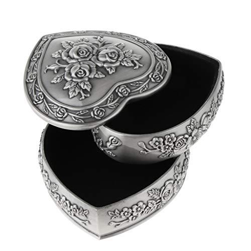 SM SunniMix Luxury Multi Layers Heart Shape Rose Flower Women Trinket Jewellery Box Case - Two-Layer - Jewellery Trinket Box