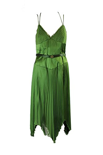 (Laundry by Shelli Segal Green Sateen Pleated Belted Dress)