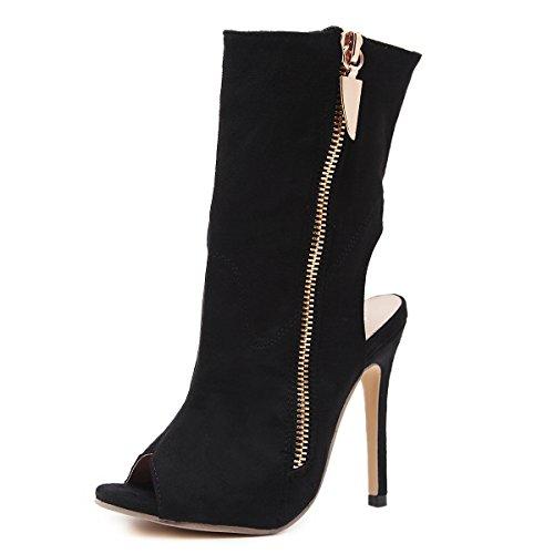 ZHZNVX Calle una elegante apariencia de alta botas de tacón zapatos boca de pescado bien con el neumático trasero desnudo de rocío botas sandalias black