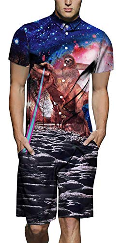 Xiaohudui Mens Printed Dinosaur Button Down Jumpsuit Short Cargo Pants Galaxy Rompers Slim Fit 90s Shorts