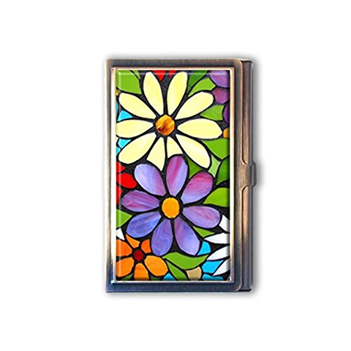jkfgweeryhrt Beautiful Colorful Stained Glass Flowers Custom Portable Business Bank Name Card Case Holder Box Pocket Credit Card ID Wallet
