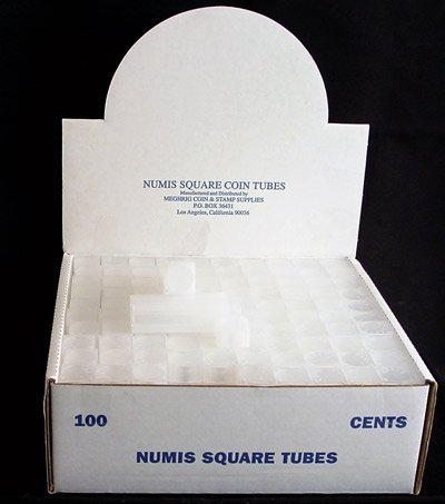 (Box of 100 Numis Coin Tubes for Cents)