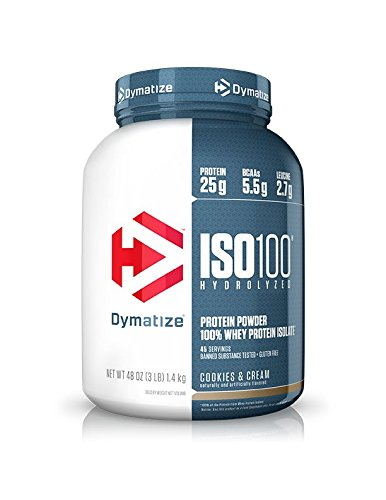 100% Whey Protein Cookies - Dymatize ISO 100 Whey Protein Powder with 25g of Hydrolyzed 100% Whey Isolate, Gluten Free, Fast Digesting, Cookies and Cream, 3 Pound