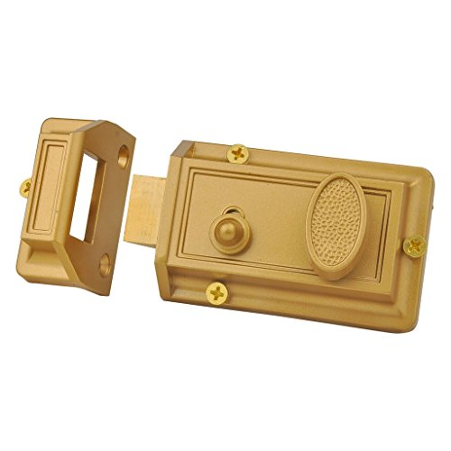 SUMBIN Night Latch Deadbolt Rim Lock,Brass Latch Antique Locks With Keys For Front Door,Gold Finish