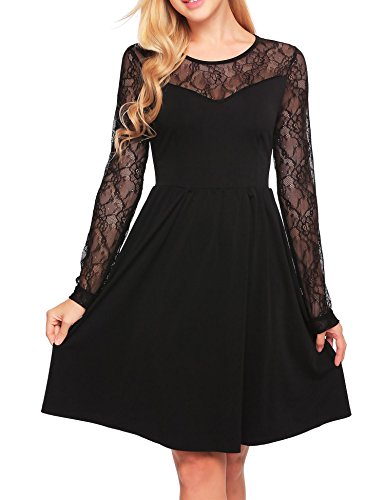 B Fancy Dress (Beyove Women's Sexy Long Sleeve Short Hollow Out Lace Dress Party Cocktail Dress ( Black M ))