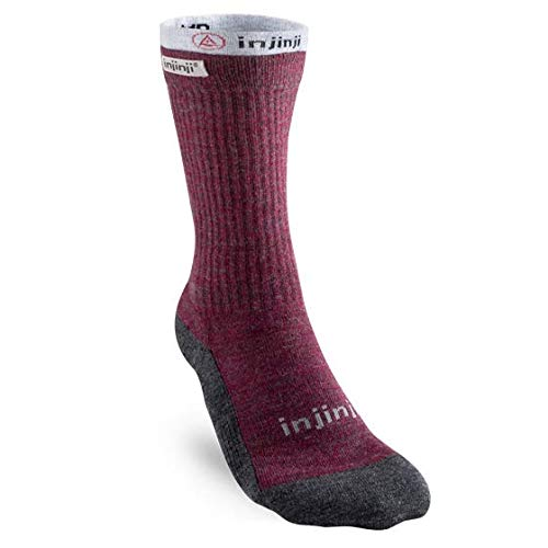 Injinji Women's Liner + Hiker Crew Socks (Medium/Large, Maroon) by Injinji
