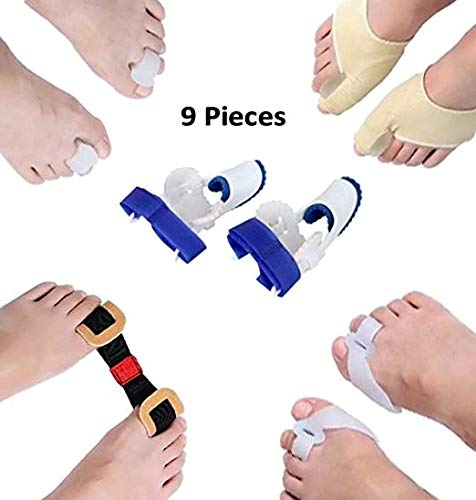 (9 in 1 Orthopedic Bunion Corrector & Bunion Relief Kit - Brace Gel Splint Pads for Foot Care, Toe Separators Spacers Straighteners Splint Treatment, Hammer Toe, Big Toe Joint &)