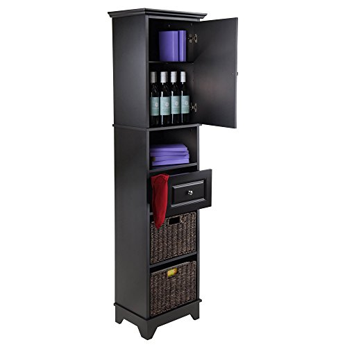 Luxury Home Wyatt Black Wood Tall Cabinet with Baskets, Drawer, and Door by Luxury Home (Image #2)