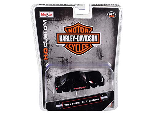 Maisto 1993 Ford SVT Cobra Harley Davidson 1/64 Die-Cast Model Car 15414-HD2, Matte Black (1993 Model Cobra)