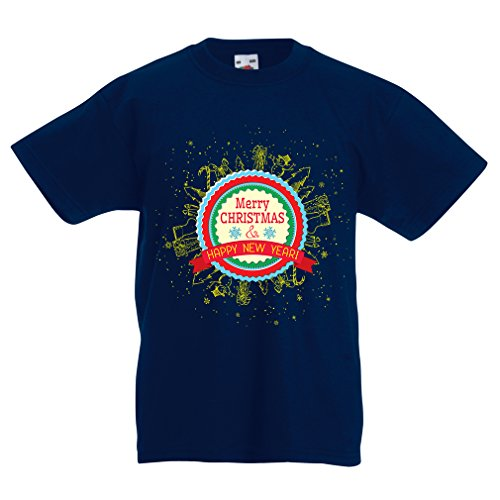 lepni.me Kids T-Shirt Merry Christmas and Happy New Year - Holiday Outfits (5-6 Years Dark Blue Multi Color) -