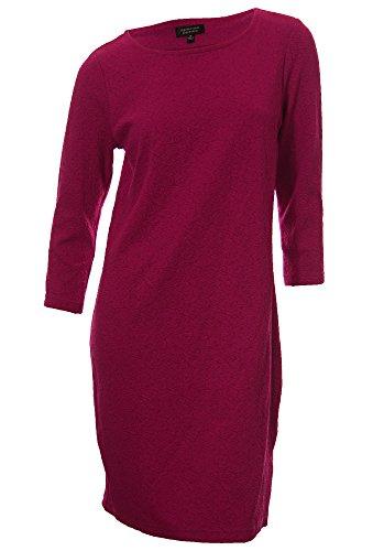 Spense Women's Textured Floral 3/4 Sleeve Dress 8 Petite Hot Pink (3/4 Sleeve Spense)