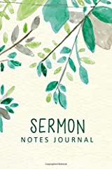 Sermon Notes Journal: Green Watercolor Leaves Personal Organize Notes and Motivations Write Record Remember And Reflect Scripture Notes & Key points Church Notebook (Religion & Spirituality) Paperback