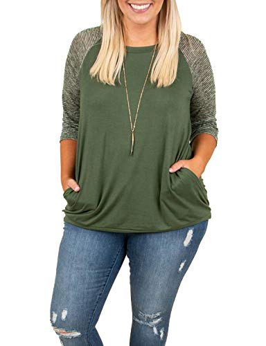 Womens Plus Size Tops Raglan Baseball Tee Shirts Striped Long Sleeve Crewneck Sweatshirts Pullover Tunic (XXX-Large, Army Green)
