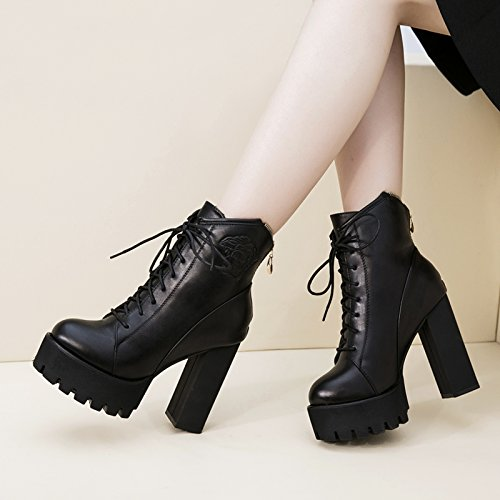 y GTVERNH marea zapatos botas tacones de zapatos impermeables Black mujeres invierno las cortas Martin Europea el El otoño botas y americana E4rw4