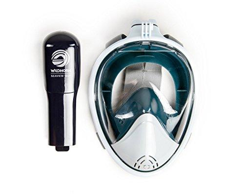 Seaview 180 Degree Panoramic Snorkel Mask- Full Face Design,Panoramic White / Teal,Large/Extra Large